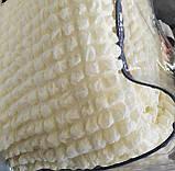 Покривало Чохол Жатка на Кутовий диван Кремовий універсальний натяжна з спідницею, фото 2