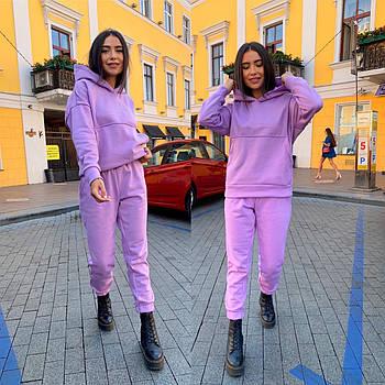 Теплый женский объёмный спортивный костюм на флисе (Норма и батал)