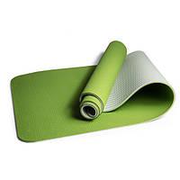 Коврик для йоги и фитнеса TPE(ТПЭ) 6 мм 183 см (стяжки в комплекте)