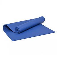 Коврик для йоги и фитнеса ПВХ 6 мм синий. Каремат туристический