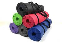 Коврик для йоги и фитнеса NBR 10 мм (Цвет в ассортименте). Наплечная лямка-затяжка в комплекте