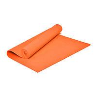 Коврик для йоги и фитнеса ПВХ 6 мм оранжевый. Каремат туристический