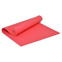 Коврик для йоги и фитнеса ПВХ 6 мм красный. Каремат туристический