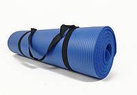 Коврик для йоги и фитнеса NBR 10 мм (синий). Наплечная лямка-затяжка в комплекте. Каремат туристический