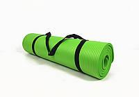 Коврик для йоги и фитнеса NBR 10 мм (зеленый). Наплечная лямка-затяжка в комплекте. Каремат туристический