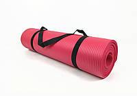 Коврик для йоги и фитнеса NBR 10 мм (красный). Наплечная лямка-затяжка в комплекте. Каремат туристический