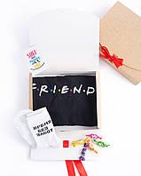 """Подарочный набор мужской. Футболка чёрная с принтом """"Friends"""", носки с принтом """"Время без забот"""""""