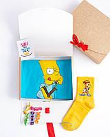 """Подарочный набор мужской. Футболка голубая с принтом """"Барт Симпсон""""носки жёлтые с принтом """"Барт"""""""