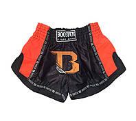 Шорты для тайского бокса и кикбоксинга BOOSTER Pro Thai Черные с оранжевым Таиланд