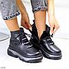 Натуральна шкіра трендові чорні шкіряні жіночі зимові черевики на платформі, фото 5