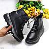 Натуральна шкіра трендові чорні шкіряні жіночі зимові черевики на платформі, фото 10