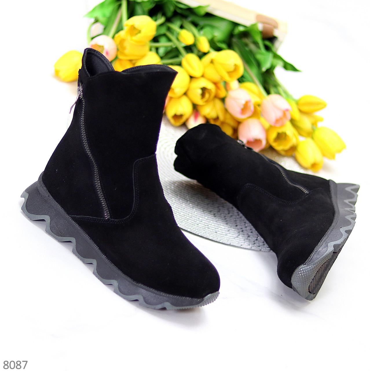 Натуральная замша модельные черные замшевые женские высокие зимние ботинки