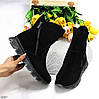 Натуральная замша модельные черные замшевые женские высокие зимние ботинки, фото 2