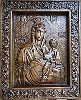 Иконы деревянные резные. Иверская икона Божьей Матери резная