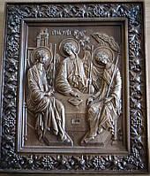 Иконы резные из дерева. Икона Святая Троица резная из бука