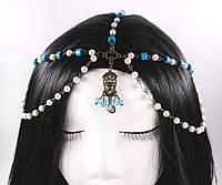 Шикарна ланцюжок на голову з білими і блакитними намистинками №22