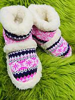 Чуні з овечої шерсті на резиновій підошвій, рожеві