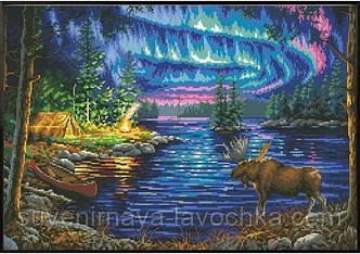 """Набір для вишивання хрестиком """"Північне сяйво над лісовим озером"""" полотно 46,4 х 31,9 см см"""