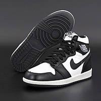 Мужские зимние кроссовки Nike Air Jordan 1 Retro High Black I Найк Аир Джордан 1 Ретро Хай Черно белые на меху, фото 1