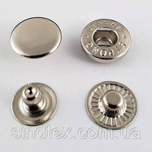 Кнопка АЛЬФА - 15мм Никель (50шт.) (СТРОНГ-0785)