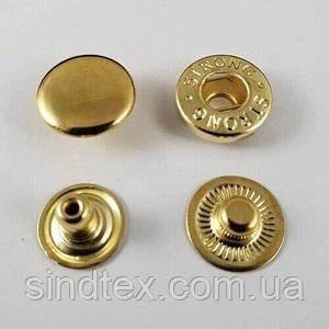 Кнопка альфа 12,5мм Золото (50шт.) (СТРОНГ-0774)