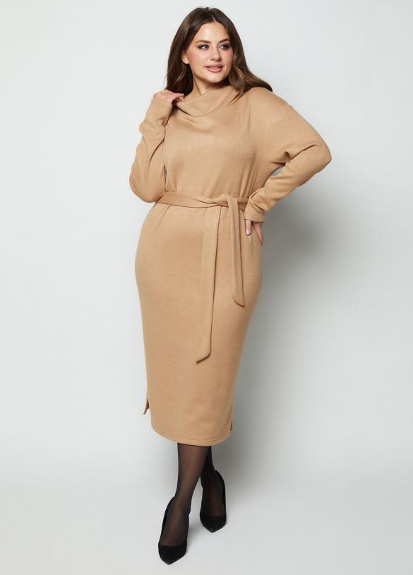 Тёплое платье из трикотажа Ангора с цельно-кроенным воротником под пояс  размеры 46-56