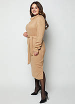 Тёплое платье из трикотажа Ангора с цельно-кроенным воротником под пояс  размеры 46-56, фото 2