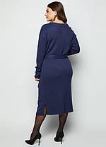 Тёплое платье из трикотажа Ангора с цельно-кроенным воротником под пояс  размеры 46-56, фото 3