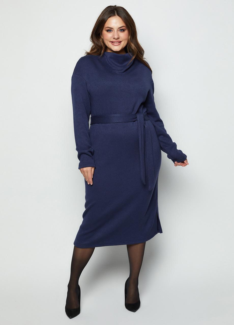 Тепле плаття з трикотажу Ангора з цілісно-кроенным коміром під пояс розміри 46-56