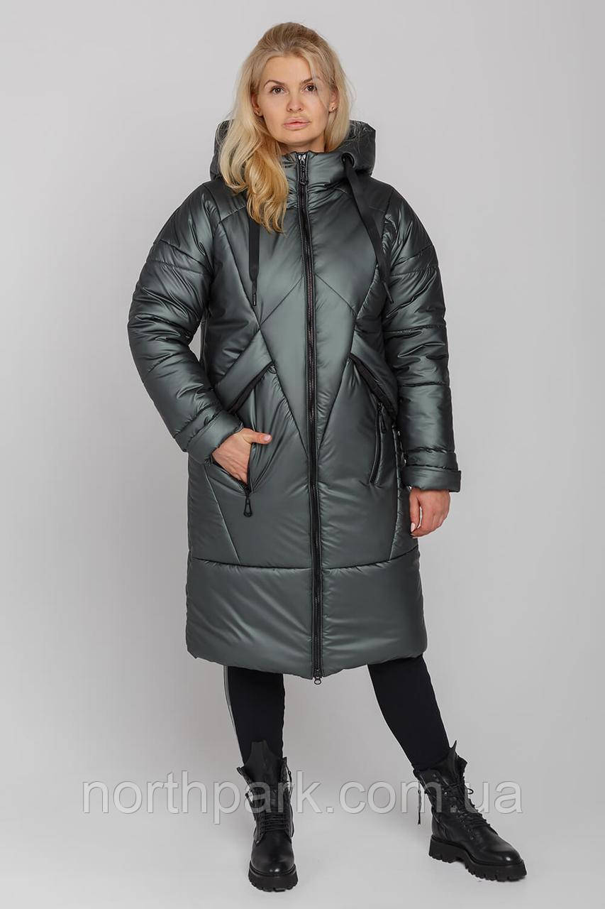 Жіноче зимове пальто Климента, колір оліївка