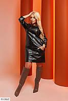 Крутое прямое эффектное однотонное батальное платье из эко-кожи с рукавом 3/4 Размер: 50-52, 54-56 арт. 804, фото 1