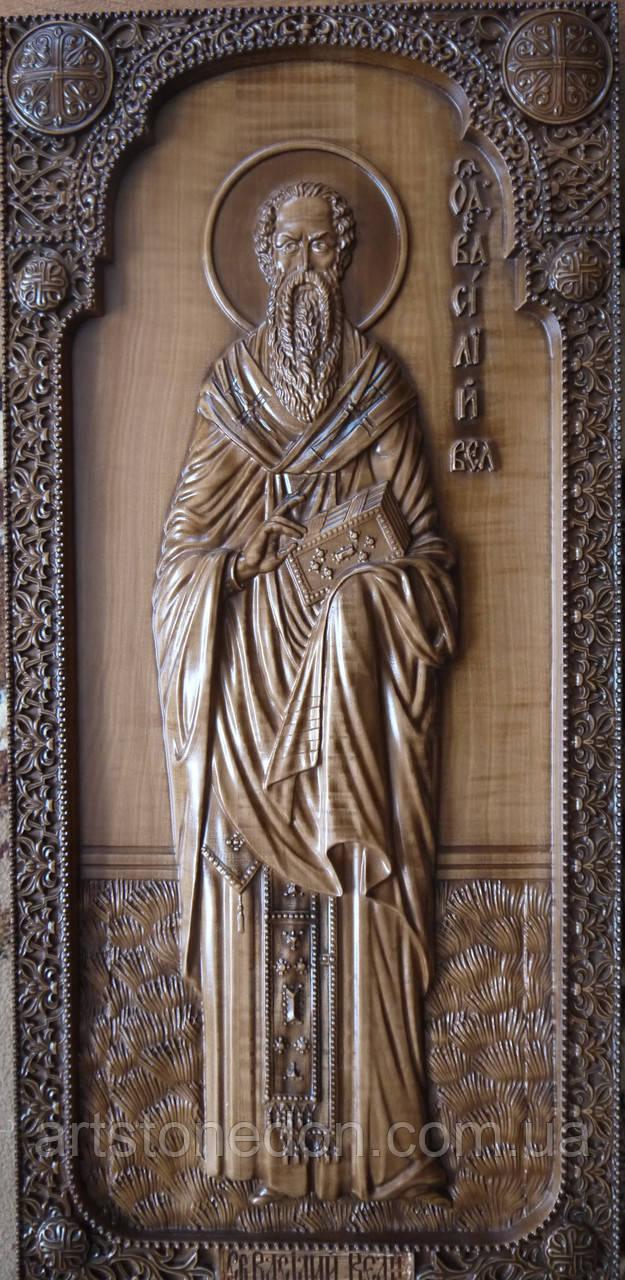 Резные деревянные иконы. Икона Святого Василия Великого