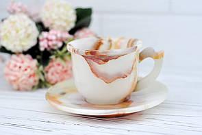 Чашка с блюдцем из натурального камня оникс