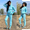Женский зимний прогулочный спортивный костюм: кофта-батник с капюшоном и штаны с начесом, норма и полубатал, фото 2