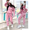 Женский зимний прогулочный спортивный костюм: кофта-батник с капюшоном и штаны с начесом, норма и полубатал, фото 3
