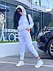 Женский зимний прогулочный спортивный костюм: кофта-батник с капюшоном и штаны с начесом, норма и полубатал, фото 8