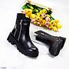 Дизайнерські чорні люксові жіночі демі черевики на тракторній підошві, фото 9