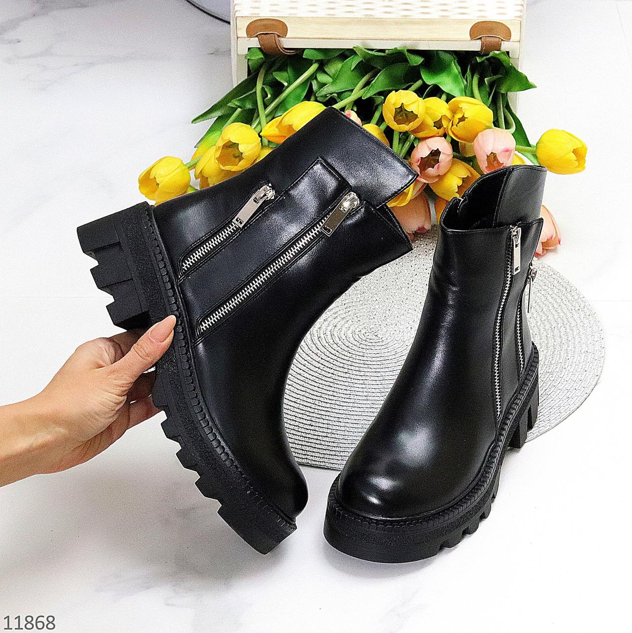 Дизайнерські чорні люксові жіночі демі черевики на тракторній підошві