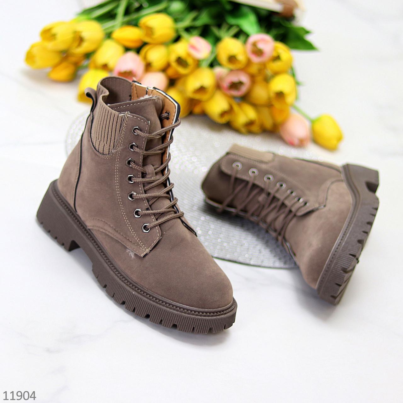 Стильні молодіжні теплі жіночі черевики блискавка+шнурівка пісочний хакі