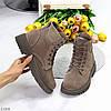 Стильні молодіжні теплі жіночі черевики блискавка+шнурівка пісочний хакі, фото 9