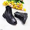 Стильні молодіжні теплі зимові чорні жіночі черевики блискавка+шнурівка, фото 2