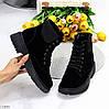 Стильні молодіжні зимові чорні жіночі замшеві черевики блискавка+шнурівка, фото 10