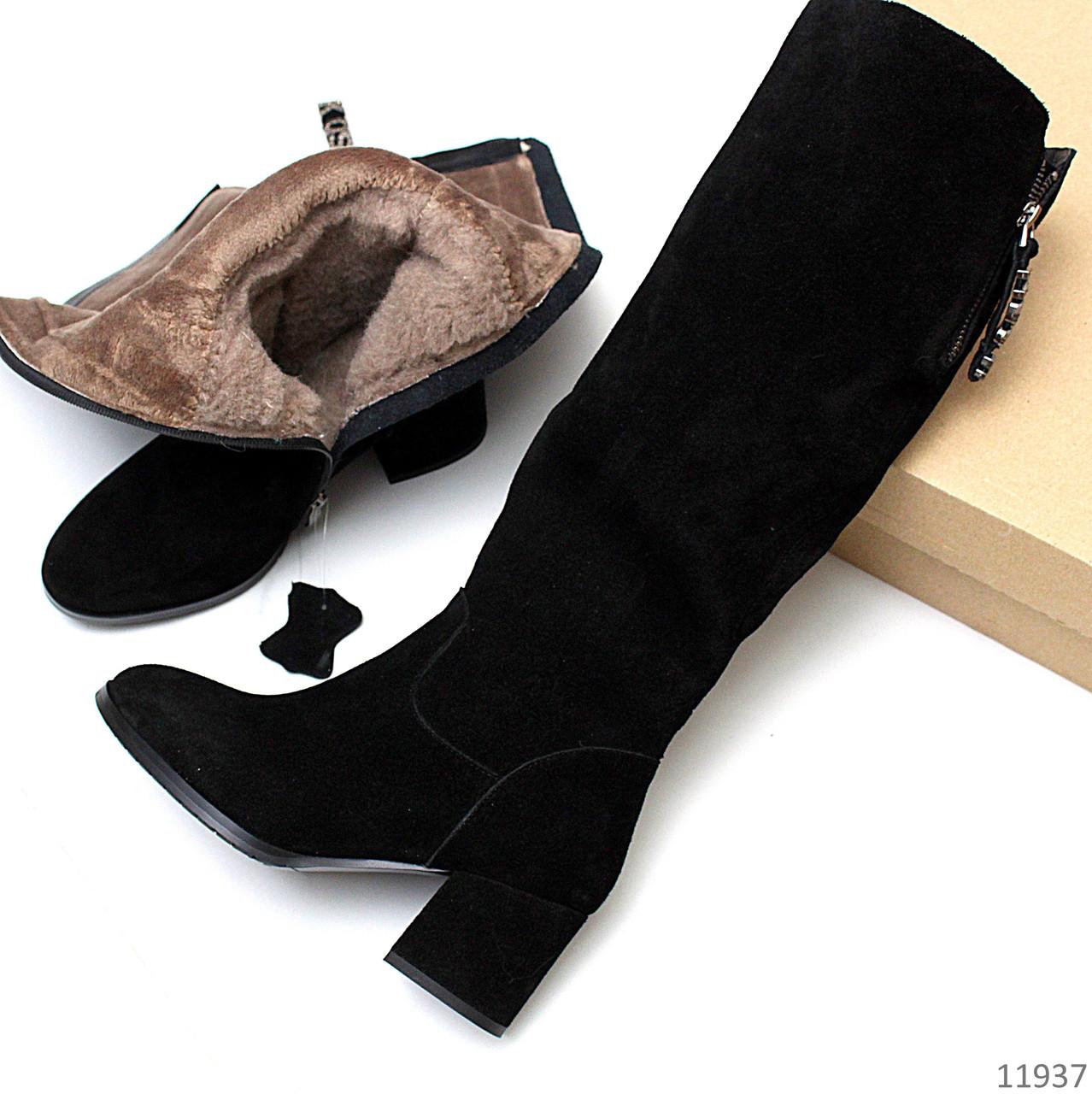 Натуральная замша теплые зимние черные женские сапоги Натуральная цигейка Удобный каблук
