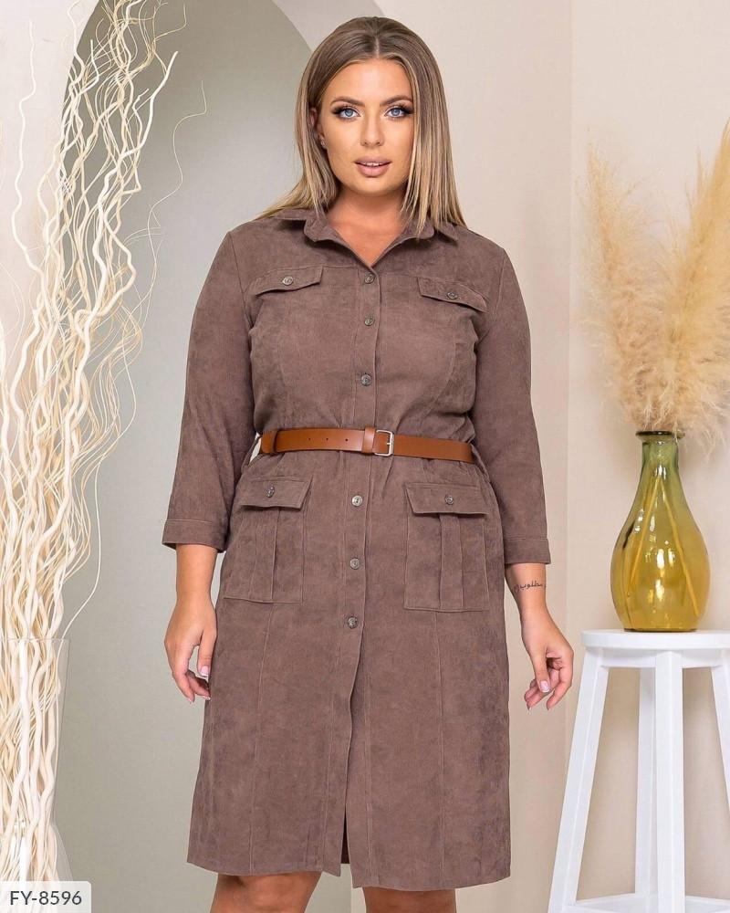 Красивое вельветовое платье-рубашка на пуговицах по колено с рукавом 3/4 Размер: 50, 52, 54 арт. 316