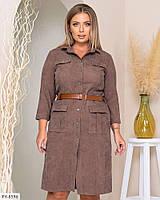 Красивое вельветовое платье-рубашка на пуговицах по колено с рукавом 3/4 Размер: 50, 52, 54 арт. 316, фото 1