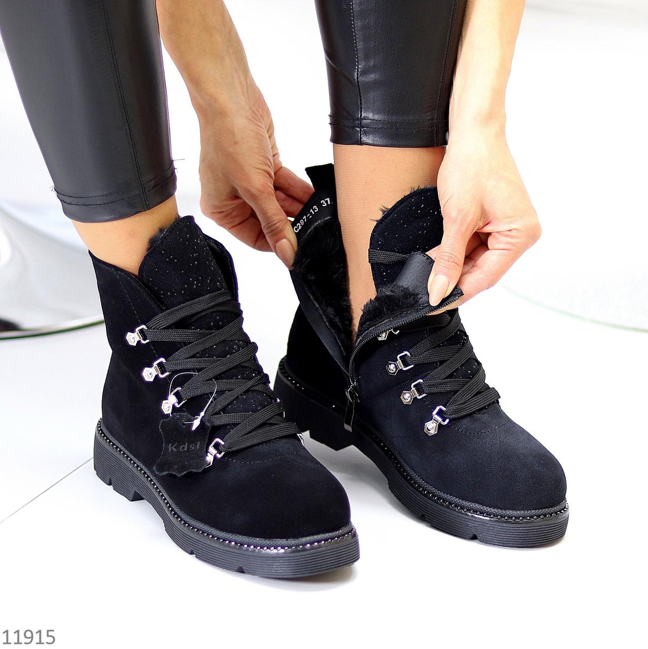 Модельные черные замшевые зимние женские ботинки натуральная замша молния + шнуровка