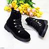 Модельные черные замшевые зимние женские ботинки натуральная замша молния + шнуровка, фото 8
