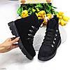 Модельные черные замшевые зимние женские ботинки натуральная замша молния + шнуровка, фото 9