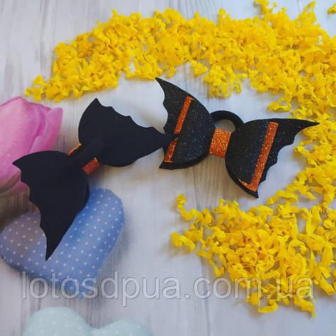 """Бант на Хеллоуін з гліттерного фоамірана """"Летюча миша"""" (чорний з помаранчевим), фото 2"""