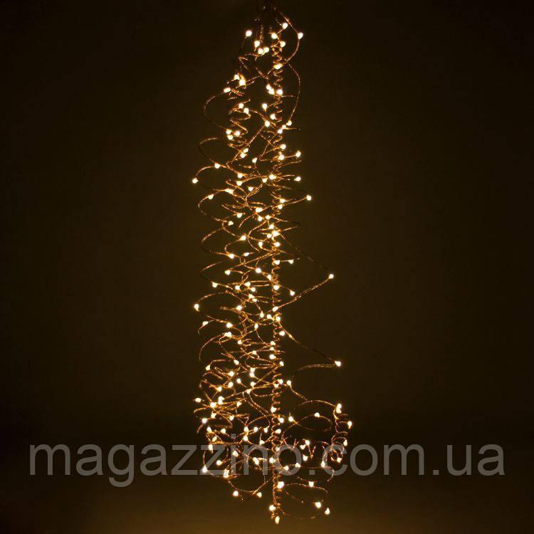 Гирлянда Конский хвост 400 LED, 14 нитей, Золотая (Желтая, Теплый белый), проволока, от сети, 3м.